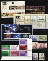 Lot 20 [2 of 3]:Diverse Accumulation incl Australia with 37 Replica cards, 1966 Navigators (6), 1971 Christmas, 1992 range of M/Ss, etc. optd for 1992 Columbian Expo, Nauru 1993 SP Forum M/S Singpex opt, 1994 Dog M/S (2, Singpex & Hong Kong opts), Aviation M/S, 1995 UN block of 4 & M/S, Stamp Exhib strip of 3, 1996 Peace strip of 3, also block of 6 with gold opt, etc. (54 stamps, 14 M/S, & booklet)