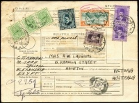 Lot 31 [1 of 2]:Egypt 1941 Parcel Forms to Australia with 1927-37 50m, 1933-38 90m, etc, plus 'Ministere des Finances' 1m green strip of 3 all tied by strikes of 'SULTAN HUSEIN' bi-lingual cds. Few minor blemishes.