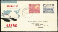 Lot 32 [3 of 4]:Flight Covers Collection incl 'BOAC' intermediate destinations on 1959 London-Tokyo (2, different), London-Sydney (2, different), London-Johannesburg (2, different), 1960 London-Santiago (2, different), 1962 London-Mauritius (2, different), 1963 London- Auckland (2, different), QANTAS 1959 Sydney-London (3, different), also several other covers incl Air NZ & QANTAS. Most with appropriate backstamps. (21)