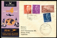 Lot 32 [1 of 4]:Flight Covers Collection incl 'BOAC' intermediate destinations on 1959 London-Tokyo (2, different), London-Sydney (2, different), London-Johannesburg (2, different), 1960 London-Santiago (2, different), 1962 London-Mauritius (2, different), 1963 London- Auckland (2, different), QANTAS 1959 Sydney-London (3, different), also several other covers incl Air NZ & QANTAS. Most with appropriate backstamps. (21)