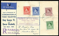 Lot 36 [2 of 4]:Flight Covers Group 1929-46 incl Australia 1929 1st Adelaide-Perth Flight (2), 1931 Hobart-Melbourne, 1934 Opening Aust-England cover to GB, Aust-Papua-New Guinea return flight, New Guinea 1937 Coronation 3d on FDC to NZ, & set of 4 on registered FDC to GB with cachets. Also 2 Niue FDCs. Mixed condition. (9)