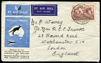 Lot 36 [3 of 4]:Flight Covers Group 1929-46 incl Australia 1929 1st Adelaide-Perth Flight (2), 1931 Hobart-Melbourne, 1934 Opening Aust-England cover to GB, Aust-Papua-New Guinea return flight, New Guinea 1937 Coronation 3d on FDC to NZ, & set of 4 on registered FDC to GB with cachets. Also 2 Niue FDCs. Mixed condition. (9)