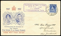 Lot 36 [1 of 4]:Flight Covers Group 1929-46 incl Australia 1929 1st Adelaide-Perth Flight (2), 1931 Hobart-Melbourne, 1934 Opening Aust-England cover to GB, Aust-Papua-New Guinea return flight, New Guinea 1937 Coronation 3d on FDC to NZ, & set of 4 on registered FDC to GB with cachets. Also 2 Niue FDCs. Mixed condition. (9)
