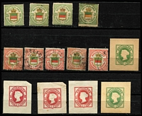 Lot 45 [3 of 3]:Heligoland 1867-90 Accumulation with perf & rouletted types, stationery cut-outs, most likely contains various reprints. Mixed condition. (52 Items)