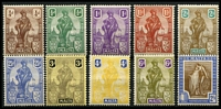 Lot 60 [2 of 2]:Malta 1922-26 Definitives range incl 2/- and 10/- and most lower values. Cat £118. (11)