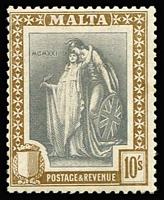 Lot 60 [1 of 2]:Malta 1922-26 Definitives range incl 2/- and 10/- and most lower values. Cat £118. (11)
