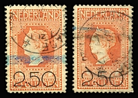 Lot 53:Netherlands 1920 2.50 on 10g orange/vermilion SG #237 x2 (both with blue crayon marks), Cat £340.