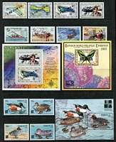 Lot 35 [3 of 4]:Pacific Islands with Kiribati 1980s-90s sets incl 1994 Butterflies (18) optd 'SPECIMEN', various commems some optd 'SPECIMEN', & Tuvalu 1980s-90s incl 1988 Birds (16), 1997 Fish (2 sets of 12 with one set optd 'SPECIMEN'), 1991 Flowers sheetlets (2), also many commems & M/Ss with & without opts. (240+ & 48 M./S)