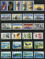 Lot 74 [2 of 3]:Pitcairn Islands 1967-95 Collection on 20+ Hagners almost complete from 1967 Bligh to 1995 Marconi incl 1984-88 Fish (13), 1995 Birds (12). Retail $760. (Few 100)