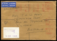 Lot 37 [2 of 4]:Rhodesia 1960s-70s Cover accumulation incl 1965 'Independence' FDC, 1966 Picts (14) on unaddressed FDC, 1966 registered cover 'Gaths Mine' to Australia with range of 'Independence' opts to 1/3d (pair) plus Trade Fair label, several other FDCs plus a selection on commercial covers, also small selection of used stamps. Generally fine. (Approx 50 items)