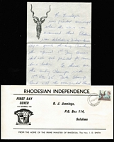 Lot 37 [3 of 4]:Rhodesia 1960s-70s Cover accumulation incl 1965 'Independence' FDC, 1966 Picts (14) on unaddressed FDC, 1966 registered cover 'Gaths Mine' to Australia with range of 'Independence' opts to 1/3d (pair) plus Trade Fair label, several other FDCs plus a selection on commercial covers, also small selection of used stamps. Generally fine. (Approx 50 items)