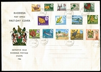 Lot 37 [1 of 4]:Rhodesia 1960s-70s Cover accumulation incl 1965 'Independence' FDC, 1966 Picts (14) on unaddressed FDC, 1966 registered cover 'Gaths Mine' to Australia with range of 'Independence' opts to 1/3d (pair) plus Trade Fair label, several other FDCs plus a selection on commercial covers, also small selection of used stamps. Generally fine. (Approx 50 items)