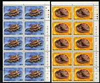 Lot 39 [3 of 4]:Samoa 1977-82 Issues on 40 Hagners in imprint or Plate blocks of 4, 6, 8 or 10 incl 1978 Hawksbill Turtles (4 sets), Cook (10 sets), 1978-80 Shells (8 sets plus additional $2 (2), $3 (2) & $5 (2)), 1980 & 81 Ships (10 sets of each). Retail $600+. (750+ &14 M/ss)