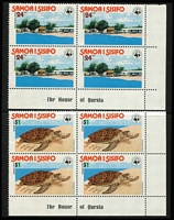 Lot 39 [1 of 4]:Samoa 1977-82 Issues on 40 Hagners in imprint or Plate blocks of 4, 6, 8 or 10 incl 1978 Hawksbill Turtles (4 sets), Cook (10 sets), 1978-80 Shells (8 sets plus additional $2 (2), $3 (2) & $5 (2)), 1980 & 81 Ships (10 sets of each). Retail $600+. (750+ &14 M/ss)