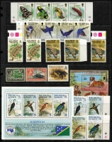 Lot 42 [1 of 2]:Solomon Islands 1937-90s on 18 Hagners incl 1979-83 various Reptiles to $5 (3, incl several with imprint),1984 Ausipex Birds (2 sets with M/Ss), 1985 Audubon M/S, 1987 Coral, Kingfisher strip of 4, 1993 Crabs (15) plus few earlier issues mint or used. (c.230 + 11 M/S/sheetlets)