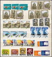 Lot 73 [2 of 4]:Specimen Stamps 2004-14 all with 'Black Line' opts or 'Black' CTO type cancels from Bahrain (84 & 6 M/S), STC £180+, Austria (27), Slovakia (65 & 5 M/Ss), Spain (34), etc. STC £300. (Approx 220 & 11 M/Ss)