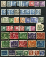 Lot 46 [3 of 4]:Sweden 1870s-1990s Collection on 38 Hagners incl 1872-79 24ö orange-yellow, few other earlies, 1903 PO 5k blue, 1924 (July) UPU to 30ö, 1931 Royal Palace, 1936 Tercentenary (12), 1942 20k Swan, good selection of perf x imperf, imperf x perf or coils, many later issues with numerous commems, very neat cancellations. Much thematic interest and perhaps some postmark interest in tne earlies. Generally very fine. (100s)