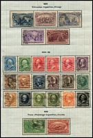 Lot 76 [2 of 4]:USA 1870s-1952 Collection incl few earlies, 1898 Columbian 4c, 6c, 8c, 1901 Pan-American Exposition (6), 1902-08 to 50c, 1913-15 Panama Canal (5), 1920 Pilgrim Fathers (3), 1922-33 to $5, 1928 Hawaii/Pitcher Opts (3), numerous other low value commems & defins. Generally fine. (100s)