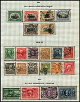 Lot 76 [3 of 4]:USA 1870s-1952 Collection incl few earlies, 1898 Columbian 4c, 6c, 8c, 1901 Pan-American Exposition (6), 1902-08 to 50c, 1913-15 Panama Canal (5), 1920 Pilgrim Fathers (3), 1922-33 to $5, 1928 Hawaii/Pitcher Opts (3), numerous other low value commems & defins. Generally fine. (100s)