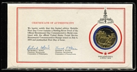 Lot 20 [2 of 3]:USA 1975 Apollo-Soyuz Space Mission limited edition sterling silver proof by Franklin Mint plus small brochure re flight, 1976 US Bicentennial sterling silver proof medal inserted into FDC in special folder. (2). (3 items)