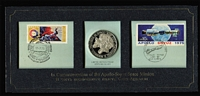 Lot 97 [3 of 3]:USA 1975 Apollo-Soyuz Space Mission limited edition sterling silver proof by Franklin Mint plus small brochure re flight, 1976 US Bicentennial sterling silver proof medal inserted into FDC in special folder. (2). (3 items)