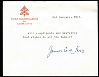 "Lot 90 [2 of 4]:Vatican 1970s-80s Accumulation of cards and covers (approx 100) mostly to one addressee in Melbourne, range of MUH issues incl M/Ss, small group of used issues on piece, 3 items signed by ""James Card(inal) Knox""."