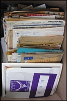 Lot 80 [3 of 3]:Woldwide Covers & Stationery Estate Lot in three archive/storage cartons, mostly loose, but including nine cover albums, commercial and philatelic. Could be anything in here, inspection recommended. (1,000s)
