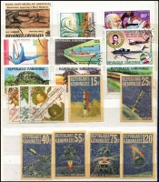 Lot 57 [3 of 6]:World in 27 albums (some sparsely filled) incl thematics with butterflies, transport, etc, also Br. Virgin Islands, Caymans, China, France & Colonies, GB, Gilbert & Ellice 1975 Cowrie Sheet M/S MUH, India, Netherlands, South Africa, SWA, Tonga, etc. Also 1953 Coronation set complete (MLH) in special album. Condition is very mixed. HEAVY LOT (13+kg). (1,000s)
