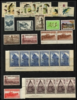 Lot 63 [3 of 4]:World incl Australia inc 1961 Melbourne Cup & 1963 Export complete sheets, Territories incl AAT 1966-68 Picts (11), Christmas Island 1968-70 Fish (12), PNG, Fiji 1969-70 to $2, Ireland, Japan 1995 Philatelic Week sheet of 10 in folder, Jersey, New Zealand various MUH to $2, 1974 Year Pack, few Health M/Ss, Cook M/S, Pitcairn 1967 Opts (13), Solomons 1965 Defins to 10/-, America's Cup issues & album, USA many MUH commems, 1973 & 1985 Year sets, 1981 Bird sheet of 50, etc. Generally fine. (100s)