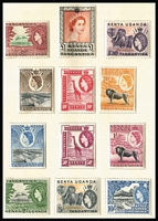 Lot 88 [2 of 6]:World in 6 albums, stockbooks, & 570gr of on & off paper in envelopes, etc, Canada, India, Indonesia, KUT 1954-58 issues in presentation folder, NZ, Nigeria, South Africa 1954 Animals 5/- & 10/- (2 of each MUH), Uganda 1922 10c green Revenue (opt reads downwards), also cover selection incl Australia 1956 Olympics with commem cancels (2), GB tatty range of QV 1d red covers incl covers to Lady Clemintine Davies (Socialite) & Mrs Newton Crosland (writer of fiction, poetry, essays & sketches), plus 1860 part entire to 'G. Deslandes, Jersey'. Condition is mixed.