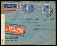 Lot 97 [1 of 9]:World Covers 1865-2001 many commercial incl Austria, Belgium 1910 registered to Philippines, France, Italy 1865 cover (faults) to GB with 20c on 15c (3, a pair & a single), Netherlands 1940 Censored 'Express Airmail' to GB, 1952 ITEP FDC, Spain WWII Censored cover to GB, 1940 Cafe advertising cover to Switzerland, Switzerland 1943 double Censored airmail cover to GB. etc. Few modern FDCs. Mixed condition. (Approx 80)