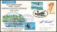 Lot 67 [1 of 5]:World Covers incl Australia 1976 50th Anniv 1st Aust-Pacific-Aust flight, (10 covers) signed by Pilots or crew, cachets & some vignettes added (AAMC 1800-d), GB, Isle of Man, Liechtenstein, Norfolk, Palau, Papua New Guinea, Tonga, UN, also few booklets, GB few Packs, USA 1997 Dolls sheetlet, etc. (50+)