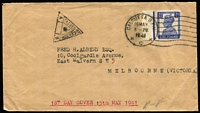 Lot 96 [2 of 5]:World Covers with Victoria 1847 entire Melbourne to Geelong with fair 'Melbourne/Port Phillip' cds and poor strike of 'Geelong/New South Wales', some to Australia from Br. Solomons, Korea (from Ilsen Women's Hospital, Pusan), India 1941 3½a on Censored FDC, Italy, NZ, South Africa double Censored cover to Aust, also several covers to overseas destinations incl Cocos 1955 Aust-Mainland Flight to Malaya (AAMC #1354c), 1956 cover to Rolls Royce, Derby, plus GB KEVII PPC with ½d P15x14. (25)