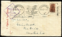 Lot 96 [3 of 5]:World Covers with Victoria 1847 entire Melbourne to Geelong with fair 'Melbourne/Port Phillip' cds and poor strike of 'Geelong/New South Wales', some to Australia from Br. Solomons, Korea (from Ilsen Women's Hospital, Pusan), India 1941 3½a on Censored FDC, Italy, NZ, South Africa double Censored cover to Aust, also several covers to overseas destinations incl Cocos 1955 Aust-Mainland Flight to Malaya (AAMC #1354c), 1956 cover to Rolls Royce, Derby, plus GB KEVII PPC with ½d P15x14. (25)