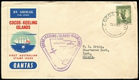 Lot 96 [1 of 5]:World Covers with Victoria 1847 entire Melbourne to Geelong with fair 'Melbourne/Port Phillip' cds and poor strike of 'Geelong/New South Wales', some to Australia from Br. Solomons, Korea (from Ilsen Women's Hospital, Pusan), India 1941 3½a on Censored FDC, Italy, NZ, South Africa double Censored cover to Aust, also several covers to overseas destinations incl Cocos 1955 Aust-Mainland Flight to Malaya (AAMC #1354c), 1956 cover to Rolls Royce, Derby, plus GB KEVII PPC with ½d P15x14. (25)