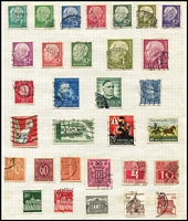 Lot 100 [2 of 3]:World in 4 Albums and on leaves incl Australia various Roos to 5/-, range of issues to 1965, few mint Colonies incl NSW 1888 Centenary 4d, 6d, 1903 Commonwealth 9d (2), Austria, Canada, Germany incl 1951 Röntgen, 1952 Telephone Service, GB 1913-19 Seahorses 2/6d (2), 5/- (2), 1951 Festival 10/- (perfin 'DLR'), India few earlies plus 1950s-70s commem accumulation, Italy, New Zealand QV 1d 'Sunlight Soap' adv on reverse, Spain, USA, etc. Mixed condition. (100s)