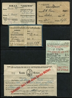 Lot 154 [2 of 2]:Australia 1942 Naval leave tickets & other passes for sailor from HMAS Gawler c1942-44, several Indian items, several black & white photos (260x200mm) of P&O ships. Generally fine. (19 items)