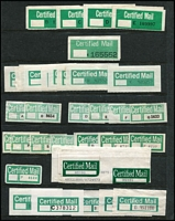 Lot 122 [2 of 4]:Australian PO Forms & Labels: on 24 Hagners incl Certified labels, red (incl 2 with constant flaw break in 'RTIF), green, perforated (incl 8 complete sheets of 25), green & blacks, or rouletted, peel & sticks, Security Post labels, COD labels, Economy Air, also selection of Indicias, and selection of world airmail labels. Generally fine. (100s)