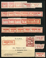 Lot 122 [1 of 4]:Australian PO Forms & Labels: on 24 Hagners incl Certified labels, red (incl 2 with constant flaw break in 'RTIF), green, perforated (incl 8 complete sheets of 25), green & blacks, or rouletted, peel & sticks, Security Post labels, COD labels, Economy Air, also selection of Indicias, and selection of world airmail labels. Generally fine. (100s)