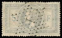 Lot 1310:1869 5f Lilac-Grey/greyish light 'Star' cancel. (Very presentable Space-filler), SG #131, Cat £1,300.