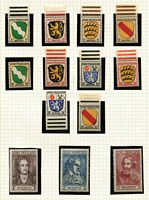 Lot 447 [1 of 4]:1945-49 Collection: in album with various zones incl 1945-46 Military Post 4pf to 25pf in complete sheets of 100 with marginal inscriptions. French Arms (MUH) with 10pf, & Poets, Baden 1949 UPU 10pf used, Russian Zone 1945 Zigzag roulette (7), plus 5pf used, Mecklenburg-Vorpommen few perf & imperf issues, Thuringia 1946 Rebuilding of National Theatre M/Ss (2, M/S white paper no gum, M/S on brown paper with brown gum as issued), Soviet Zone 1948 Opts (17), 1949 Goethe (5). Many useful odd issues throughout. High cat value. (100s)