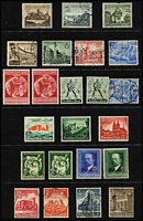 Lot 444 [1 of 3]:1920s-45 Array on 28 Hagners incl many commems & defins with 1934 Count Zeppelin 3m, range of Hitler Heads, few Occupation issues, also MUH 1937 Culture Fund M/S with '25 Rpf Einschlieszlich Kulturspende' with 5mm tear at top. Condition is very mixed. (100s)