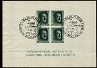 Lot 428 [2 of 3]:1937 Hitler's Culture Fund M/S (5, two perforated [5 Apr], two imperf [16 Apr], all with pictorial cancels for 16th, 17th or 20th (2 different) April, plus one mint [5 Apr] with light adhesion on reverse), also [10 Jun] M/Ss (2, with rouletting, one mint, one pict cds). (7 M/Ss)
