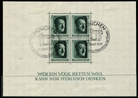 Lot 428 [3 of 3]:1937 Hitler's Culture Fund M/S (5, two perforated [5 Apr], two imperf [16 Apr], all with pictorial cancels for 16th, 17th or 20th (2 different) April, plus one mint [5 Apr] with light adhesion on reverse), also [10 Jun] M/Ss (2, with rouletting, one mint, one pict cds). (7 M/Ss)
