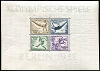 Lot 1316 [2 of 2]:1936 Summer Olympic Games miniature sheets, Mi #624-31, Cat €260. (2)