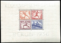 Lot 1316 [1 of 2]:1936 Summer Olympic Games miniature sheets, Mi #624-31, Cat €260. (2)