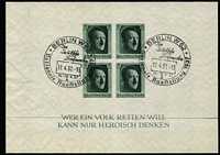 Lot 1315 [2 of 3]:1937 Hitler's Culture Fund M/S (5, two perforated [5 Apr], two imperf [16 Apr], all with pictorial cancels for 16th, 17th or 20th (2 different) April, plus one mint [5 Apr] with light adhesion on reverse), also [10 Jun] M/Ss (2, with rouletting, one mint, one pict cds). (7 M/Ss)