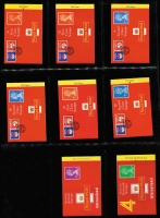 Lot 464 [2 of 6]:1987-99 Window Face Booklets a very specialised collection in 2 albums with 1st Class stamps (2,140+), 2nd Class (1,040+), 'E' (28), 'W/WPC' (24) plus £126 (A$222) in face value issues. Various Worldwide Greetings Stamp Bklts, Postcard Stamp bklts, bklts by Cartor, De La Rue, Harrison (with Chambron Press, Mark III), International Securities, Moore & Matthers, Questa, Wallsall (some with printer's name omitted), several 'reprints', others with designers' names corrections, 'Sample' books, rate changes, peel & sticks, elliptical holes, etc. All on neatly annotated pages with details of issue date, printer, etc. (Approx 450 booklets)