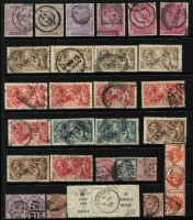 Lot 448 [2 of 4]:1840-1934 Accumulation incl 1d black (4 close to good margins), few Line -engraved 1847-54 imperf 6d (wmk inv, 2 margins), range of surface printed issues incl 4d (8), 6d (10), 9d, 1/- (6), 2/- (2), 1883-84 2/6d (3), 5/- (3), 1883 or 1884 3d, 4d, 5d, 6d, 1/- (2), 1913-19 Seahorses 2/6d (4), 5/- (5), 10/- (2), and a selection of Impressed Duty stamps. Also 1840 2d blue Mulready (Forme a210), unused plus 1d Mulready front used to Dunstable. Very high cat value. Mixed condition. (100s)