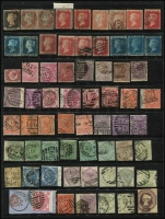 Lot 448 [1 of 4]:1840-1934 Accumulation incl 1d black (4 close to good margins), few Line -engraved 1847-54 imperf 6d (wmk inv, 2 margins), range of surface printed issues incl 4d (8), 6d (10), 9d, 1/- (6), 2/- (2), 1883-84 2/6d (3), 5/- (3), 1883 or 1884 3d, 4d, 5d, 6d, 1/- (2), 1913-19 Seahorses 2/6d (4), 5/- (5), 10/- (2), and a selection of Impressed Duty stamps. Also 1840 2d blue Mulready (Forme a210), unused plus 1d Mulready front used to Dunstable. Very high cat value. Mixed condition. (100s)